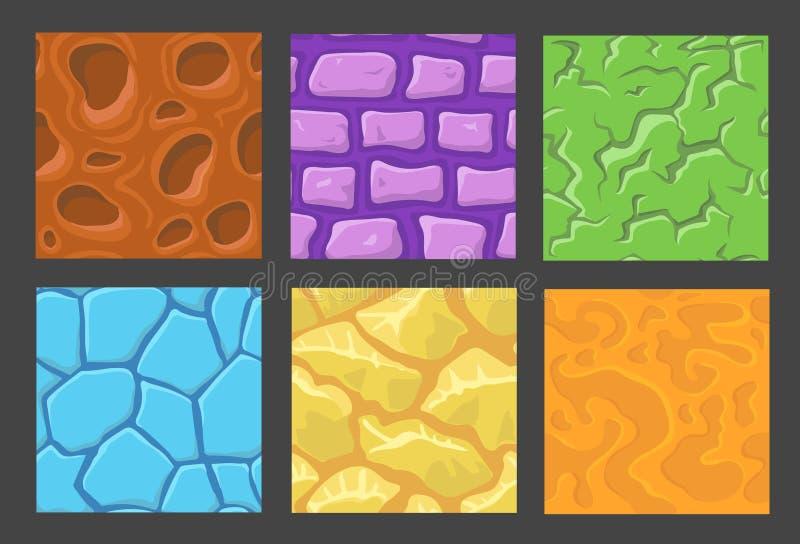 L'insieme del modello per il fondo del gioco, pietra di vettore e fondo della parete struttura la raccolta per il gioco illustrazione vettoriale