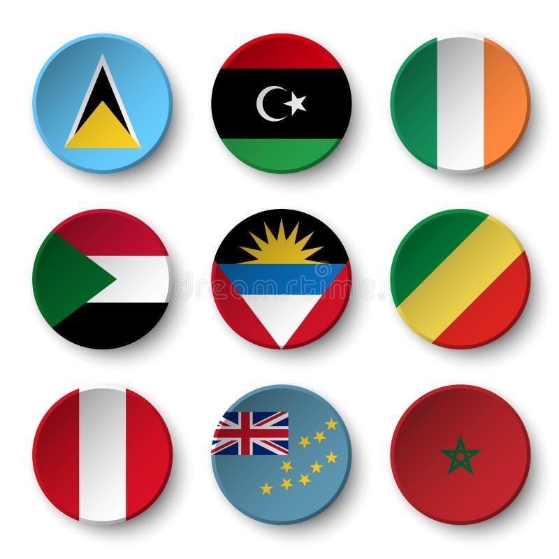 L'insieme del mondo diminuisce intorno ai distintivi Santa Lucia libya l'irlanda sudan L'Antigua e Barbuda La Repubblica del Cong royalty illustrazione gratis