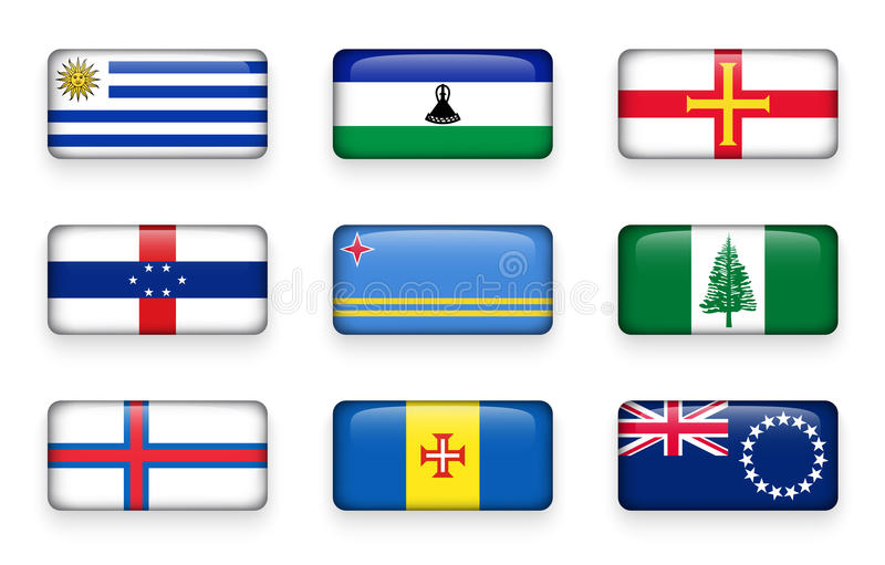 L'insieme del mondo inbandiera i bottoni Uruguay di rettangolo lesotho guernsey Antille olandesi aruba L'isola Norfolk Isole faro royalty illustrazione gratis