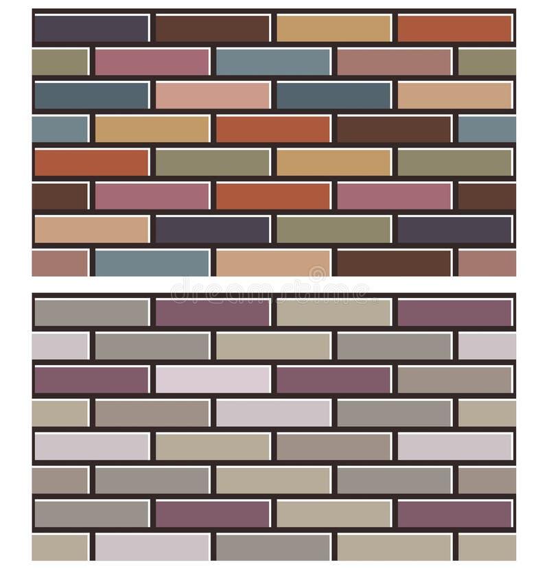 L'insieme del muro di mattoni variopinto struttura il modello del fondo della raccolta illustrazione vettoriale
