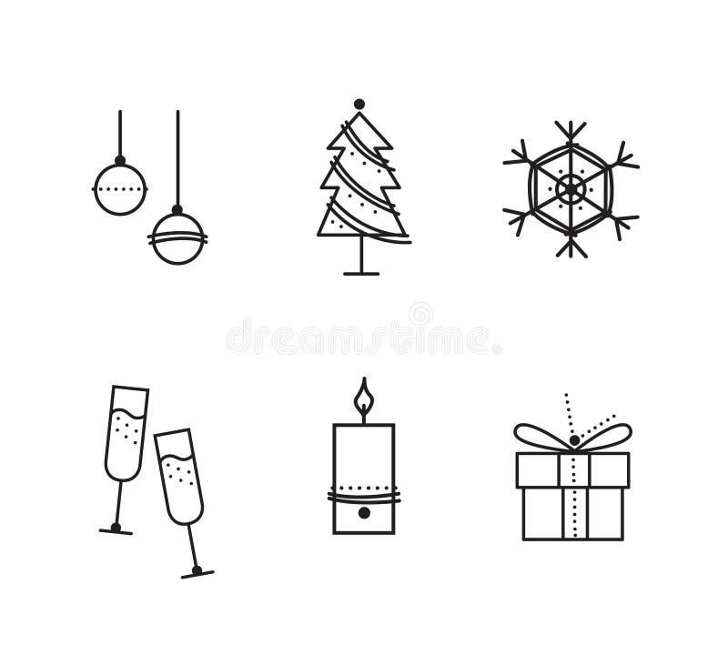 L'insieme del Natale ha ispirato le icone uniche di vettore immagini stock