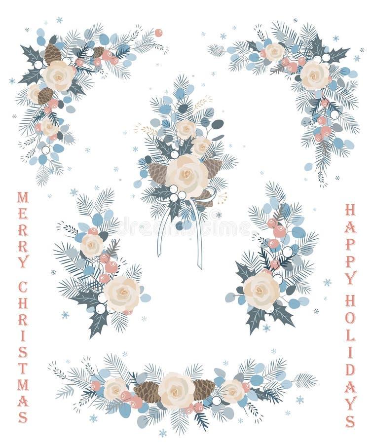 L'insieme del Natale vector i rami floreali e di fioriture, fiori, fiorisce, corone ed angoli illustrazione di stock