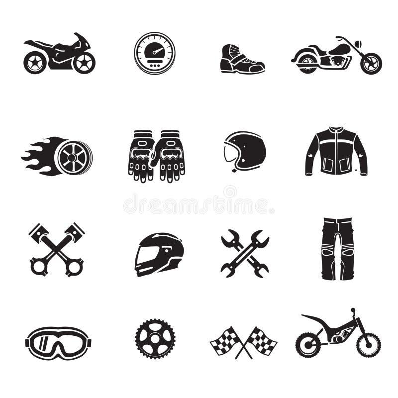 L'insieme del nero delle icone del motociclo con i simboli del trasporto ha isolato il vettore illustrazione vettoriale