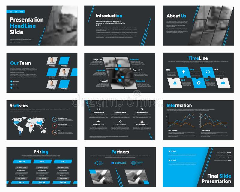L'insieme del nero di vettore fa scorrere con gli elementi blu di progettazione per l'affare illustrazione di stock