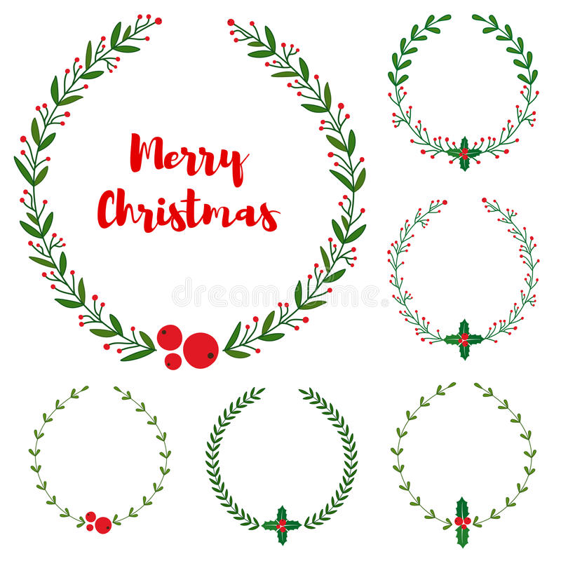 L'insieme del nuovo anno, Natale scarabocchia le strutture floreali disegnate a mano della corona illustrazione vettoriale