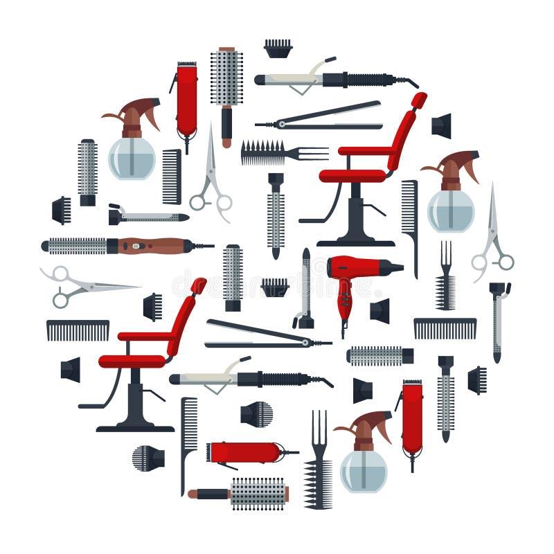 L'insieme del parrucchiere obietta nello stile piano isolato su fondo bianco Attrezzature del salone di capelli ed icone di logo  illustrazione vettoriale