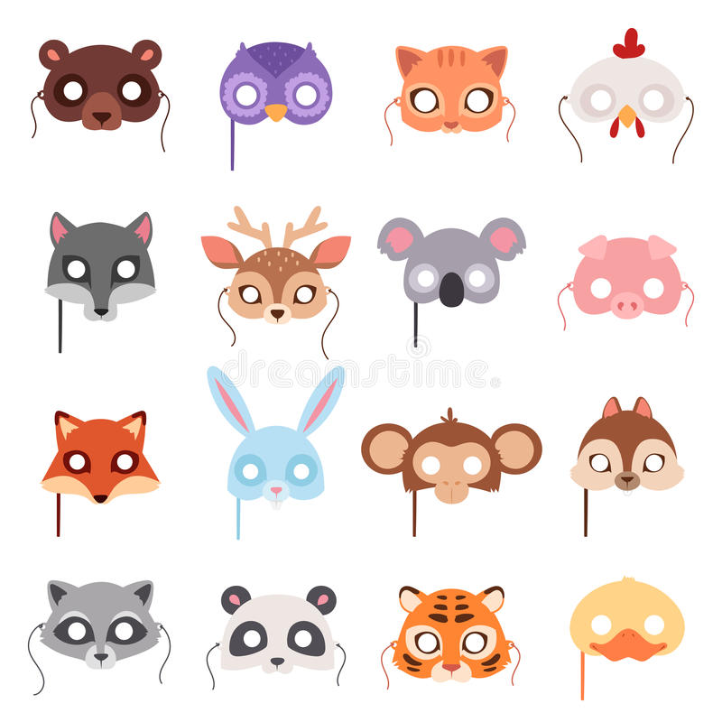 L'insieme del partito degli animali del fumetto maschera il vettore illustrazione di stock