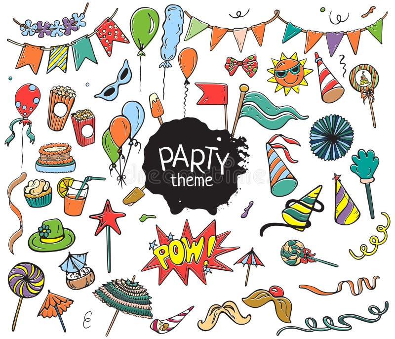 L'insieme del partito variopinto obietta disegnato a mano su fondo bianco illustrazione di stock