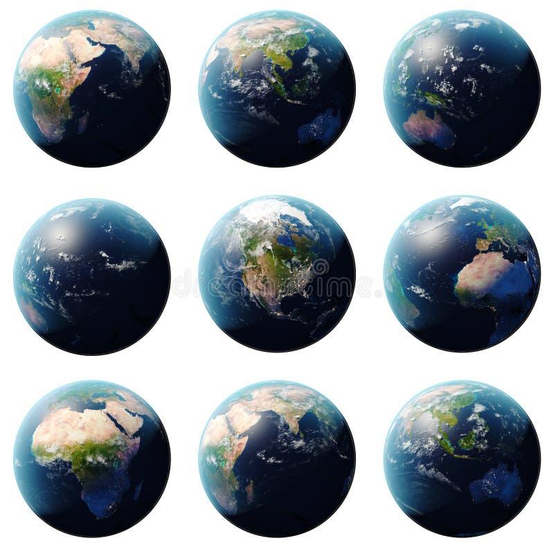 l'insieme del pianeta Terra della rappresentazione 3D, globo dagli angoli differenti, ha messo la terra su fondo bianco per la vo illustrazione vettoriale