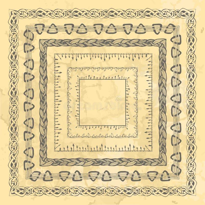 L'insieme del quadrato ha stilizzato le strutture dai motivi di disegno di Viking dello scandinavo della mano, confini ornamental illustrazione di stock