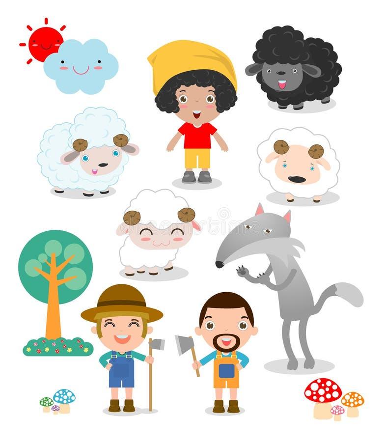 L'insieme del ragazzo del pastore con il lupo, storia per i bambini vector l'illustrazione royalty illustrazione gratis