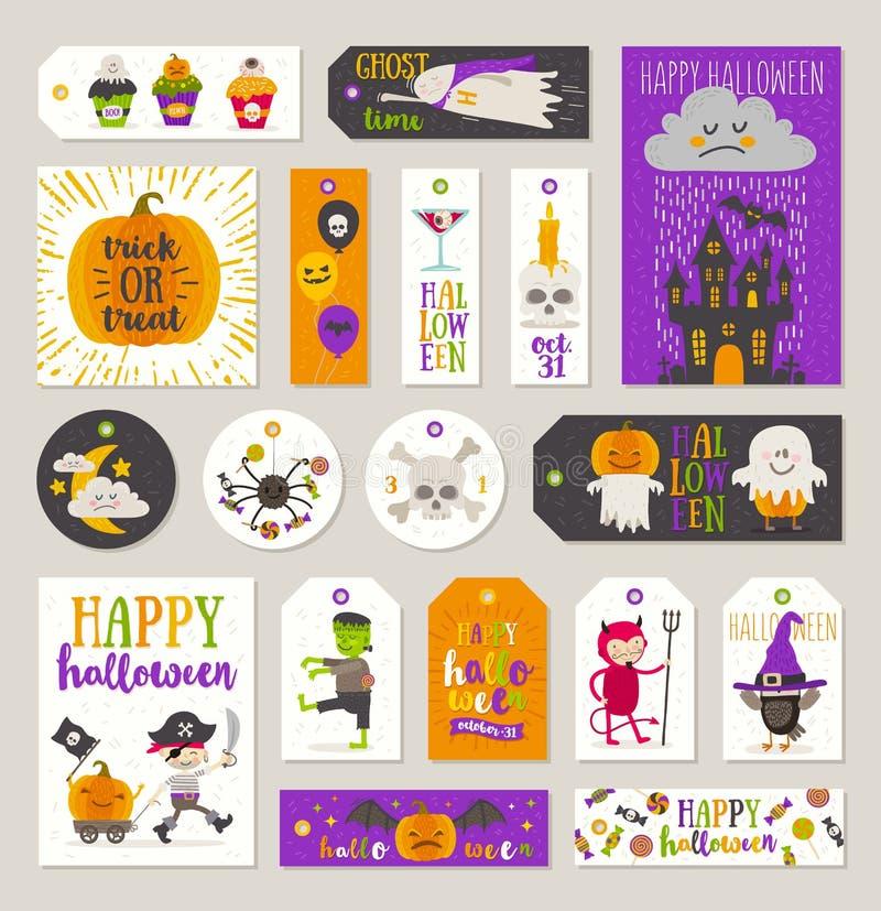 L'insieme del regalo di Halloween etichetta ed etichette illustrazione di stock