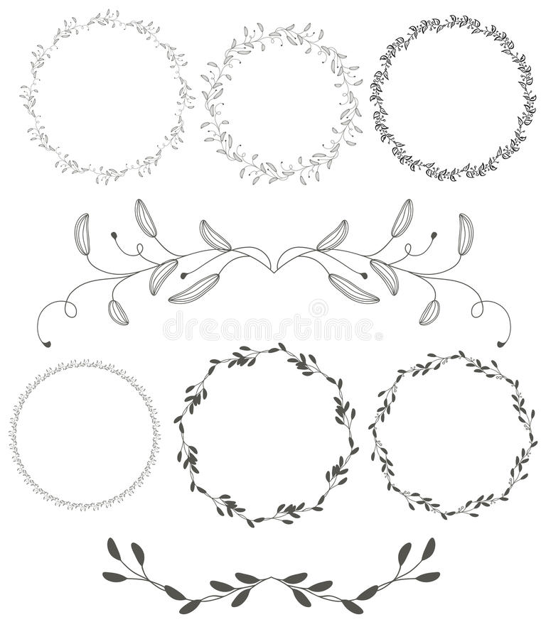 L'insieme del telaio decorativo d'annata dei whorls di flourish rotondo va su fondo bianco calligrafia di vettore illustrazione di stock