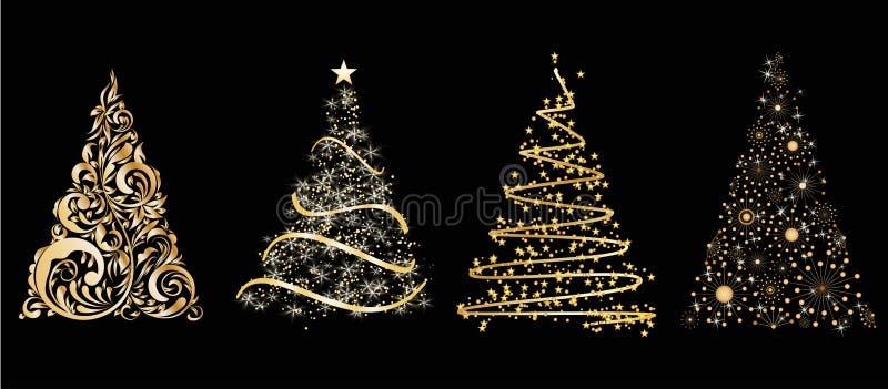 L'insieme del vettore dell'oro ha stilizzato l'albero di Natale su fondo nero illustrazione vettoriale