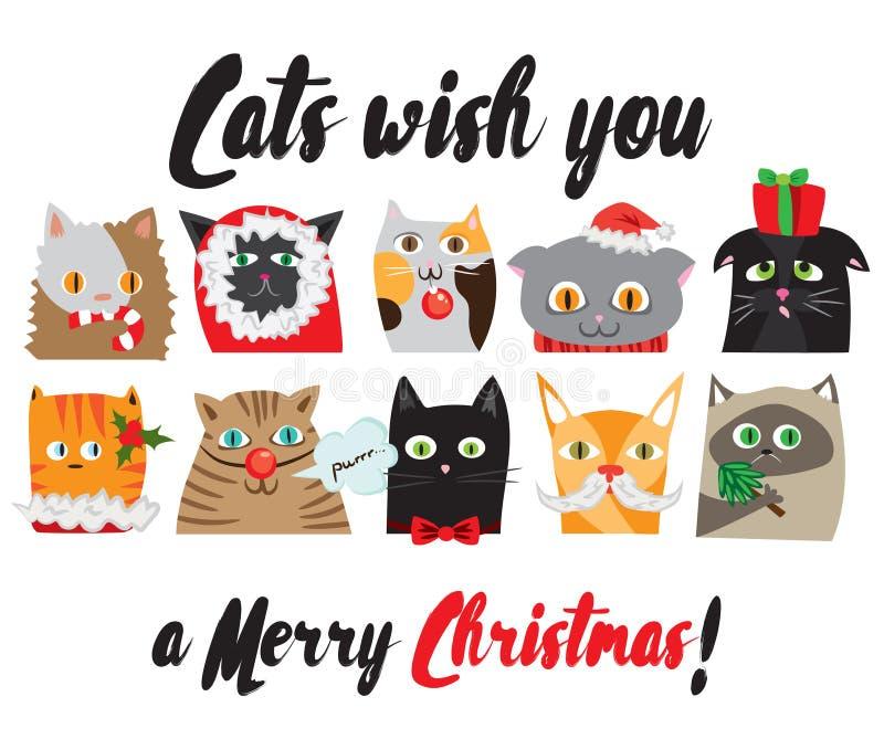 L'insieme del vettore ha illustrato i ritratti dei gatti di Natale del fumetto Caratteri animali svegli Cartolina di nuovo anno illustrazione di stock