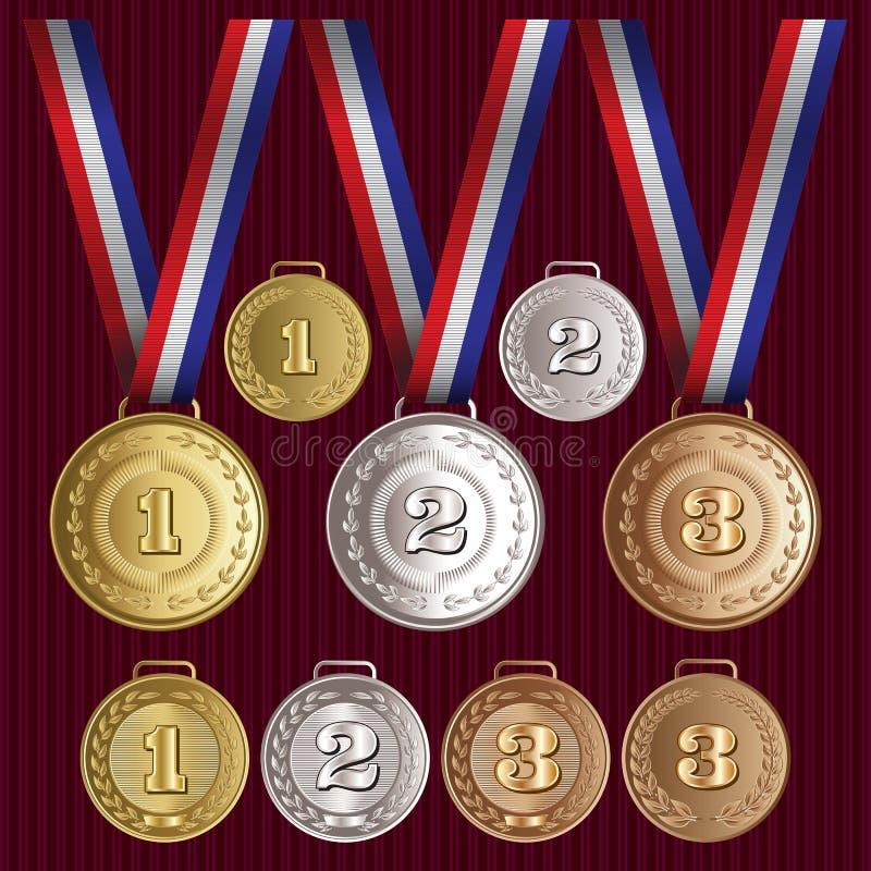 L'insieme del vettore modella le medaglie oro, argento, bronzo royalty illustrazione gratis