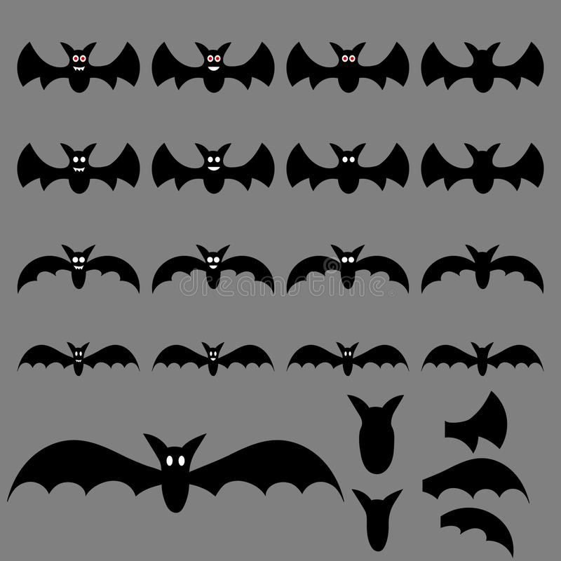 L'insieme del volo di Halloween batte per la vostra progettazione, gioco, carta Grande raccolta delle siluette del pipistrello Il illustrazione di stock