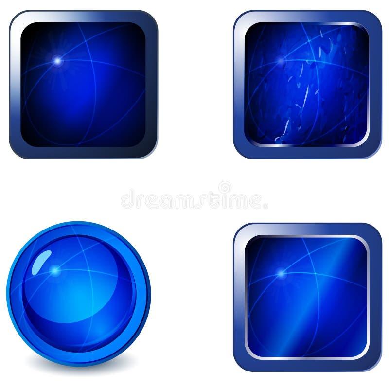 L'insieme del Web metallico lucido blu in bianco si abbottona royalty illustrazione gratis