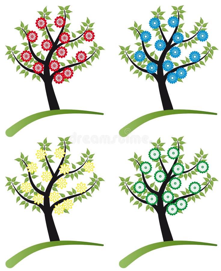 L 39 insieme dell 39 albero stylized con i fiori illustrazione for Albero con fiori blu