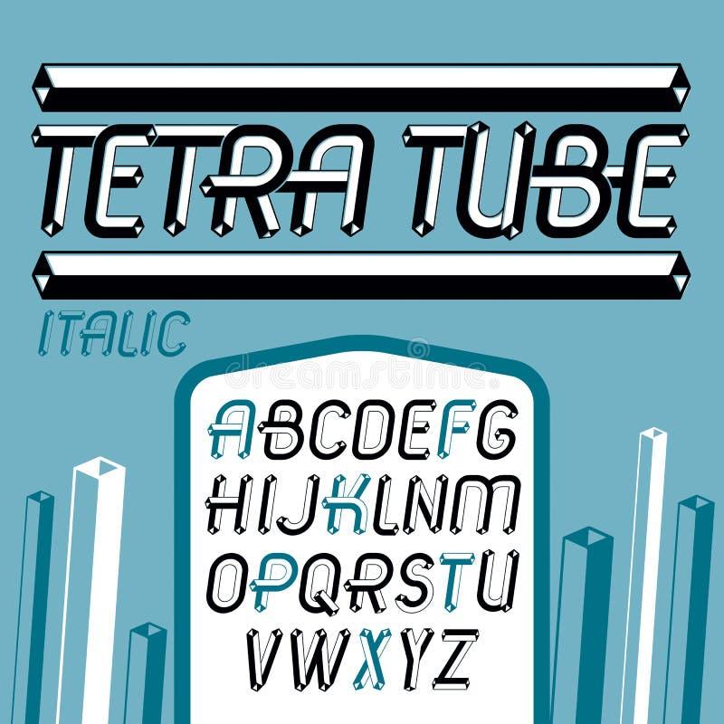 L'insieme dell'alfabeto inglese maiuscolo di vettore d'annata fresco segna la i con lettere illustrazione vettoriale