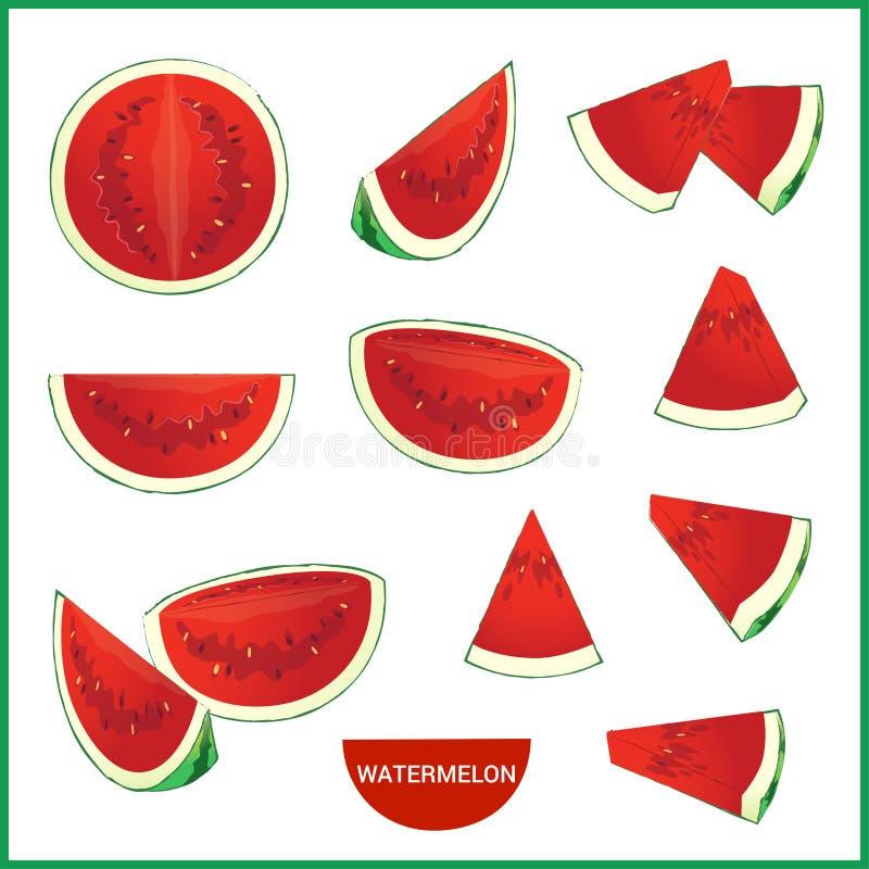 L'insieme dell'anguria fresca in varia fetta disegna il formato di vettore illustrazione di stock