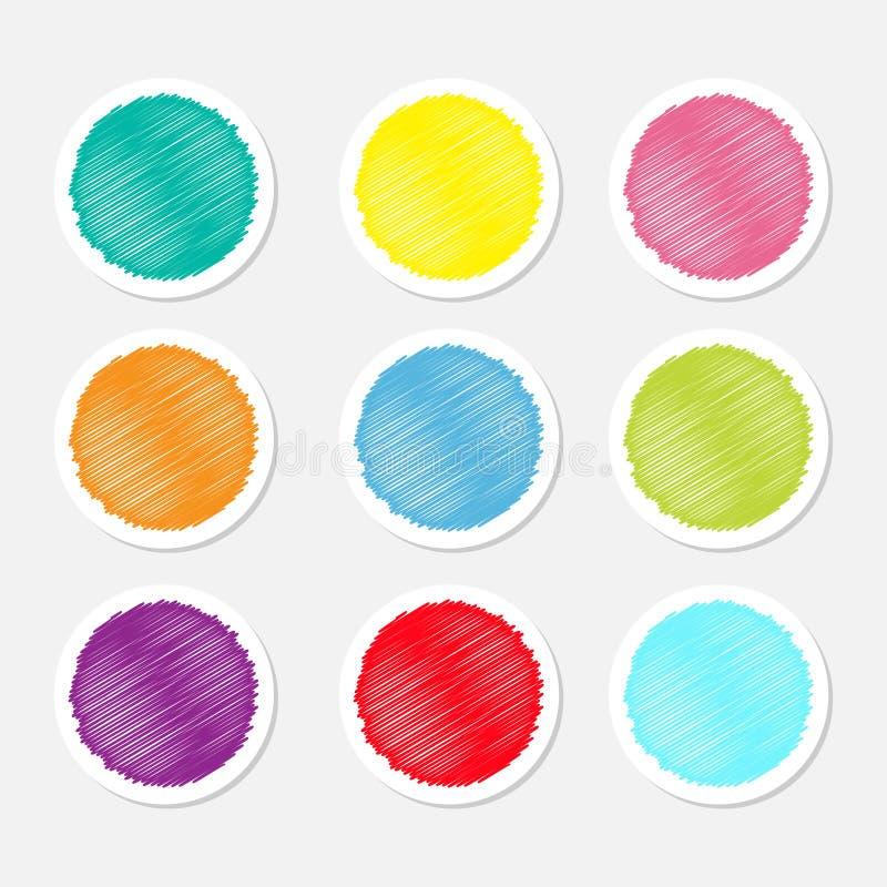 L'insieme dell'autoadesivo rotondo variopinto in bianco dell'etichetta dei bottoni dell'etichetta per effetto dello scarabocchio  illustrazione di stock