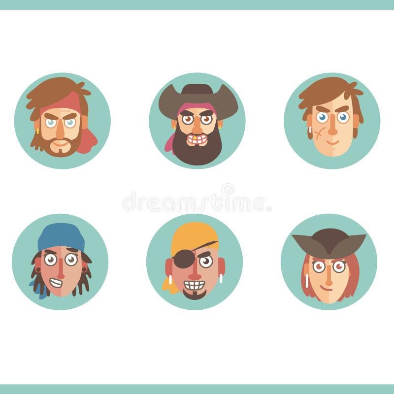 L'insieme dell'avatar dei pirati dirige le icone piane immagine stock libera da diritti