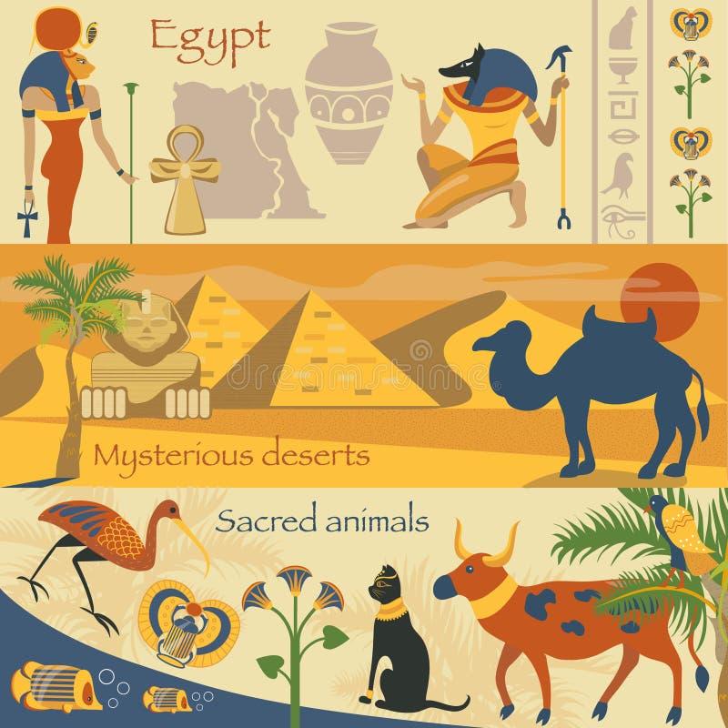 L'insieme dell'Egitto, i simboli antichi egiziani, dessert misteriosi, animali sacri vector le illustrazioni royalty illustrazione gratis