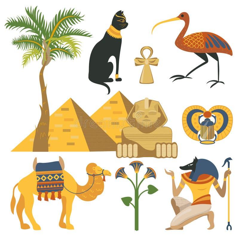 L'insieme dell'Egitto, la religione egiziana antica e gli elementi culturali vector le illustrazioni royalty illustrazione gratis
