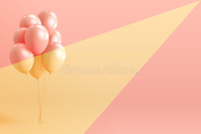 L'insieme dell'elio lucido della perla realistica balloons il galleggiamento sul fondo variopinto royalty illustrazione gratis