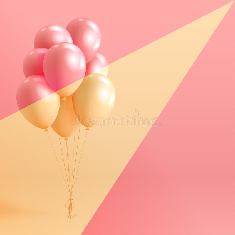 L'insieme dell'elio lucido della perla realistica balloons il galleggiamento sul fondo variopinto illustrazione di stock