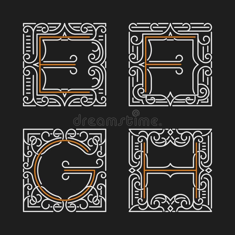Download L'insieme Dell'emblema Alla Moda Del Monogramma Lettere E, F, G, H Illustrazione Di Vettore Illustrazione Vettoriale - Illustrazione di deco, commercio: 56887773