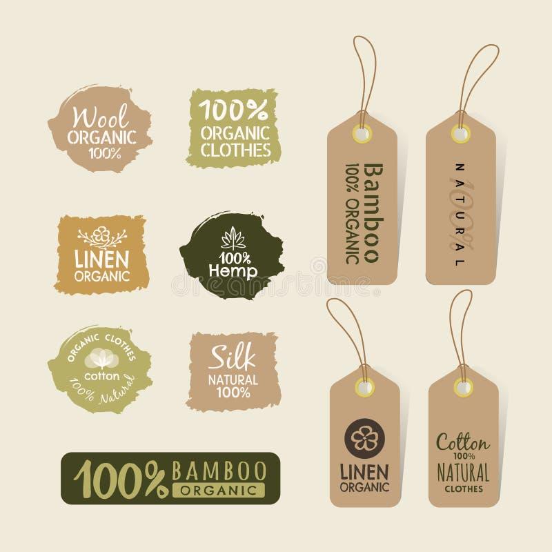 L'insieme dell'etichetta amichevole del tessuto di eco identifica la progettazione della raccolta illustrazione vettoriale