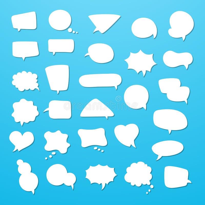 L'insieme dell'icona dei fumetti vuoti, pensa le nuvole Raccolta dei simboli del pallone di conversazione dei fumetti illustrazione vettoriale