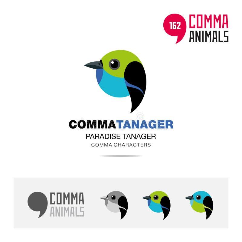 L'insieme dell'icona di concetto dell'uccello dell'uccellino azzurro ed il modello moderno di logo di identità di marca ed il sim royalty illustrazione gratis