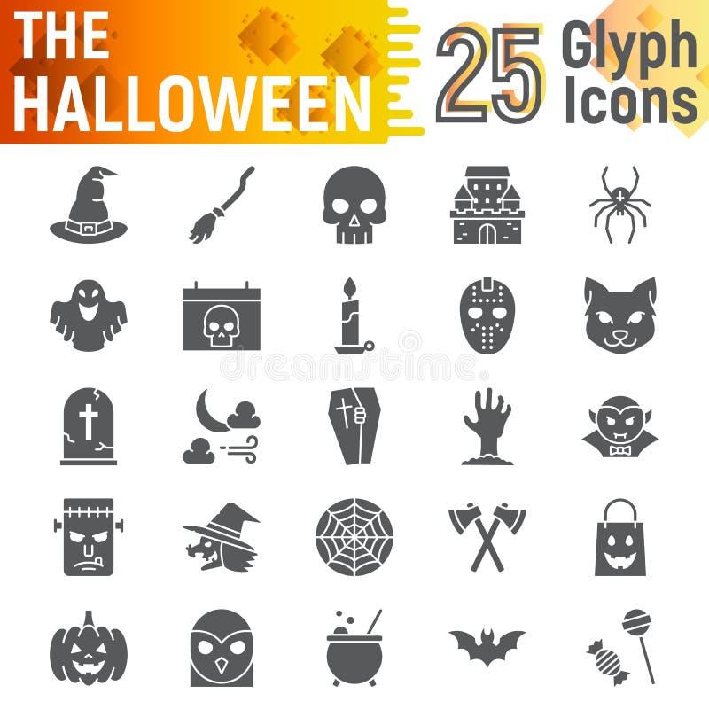 L'insieme dell'icona di glifo di Halloween, i simboli spettrali la raccolta, gli schizzi di vettore, le illustrazioni di logo, or illustrazione di stock
