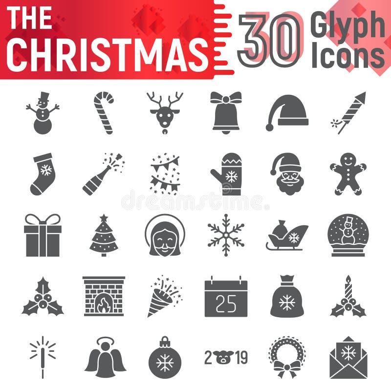 L'insieme dell'icona di glifo di Natale, i simboli la raccolta, gli schizzi di vettore, le illustrazioni di logo, natale del nuov illustrazione di stock