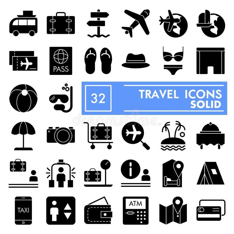 L'insieme dell'icona di glifo di viaggio, i simboli la raccolta, gli schizzi di vettore, le illustrazioni di logo, turismo di vac illustrazione vettoriale