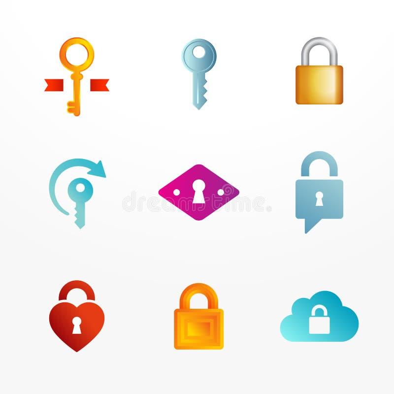 L'insieme dell'icona di logo basato sulla chiave ed assicura i simboli della serratura illustrazione vettoriale