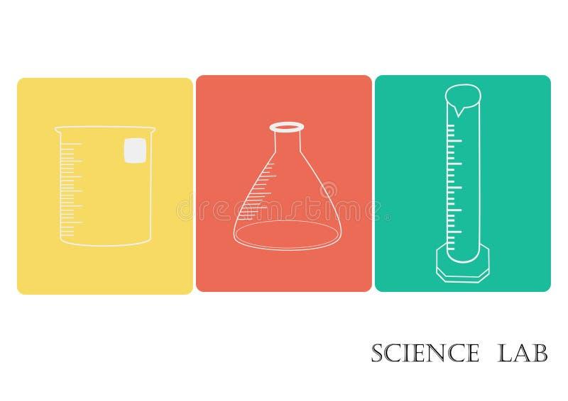L'insieme dell'icona di vettore del laboratorio di scienza, icone chimiche ha messo, laboratorio chimico, cristalleria chimica il royalty illustrazione gratis
