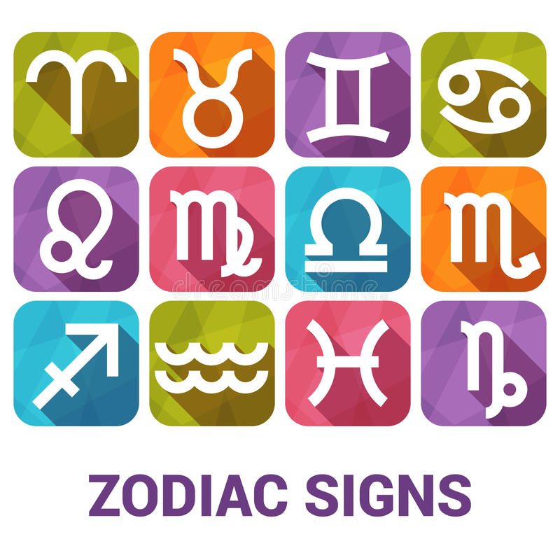 L'insieme dell'icona di vettore di zodiaco firma dentro lo stile piano illustrazione vettoriale