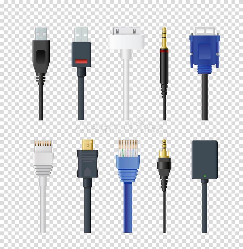 L'insieme dell'illustrazione di vettore delle spine e dei cavi differenti, colora la varia audio raccolta dei dati di input e dei illustrazione di stock