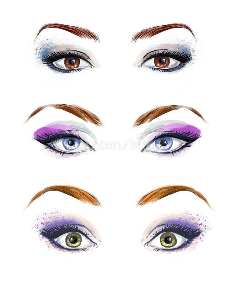 L'insieme dell'immagine degli occhi e delle fronti della femmina con meravigliosamente modo compone Illustrazione di modo Occhi v royalty illustrazione gratis
