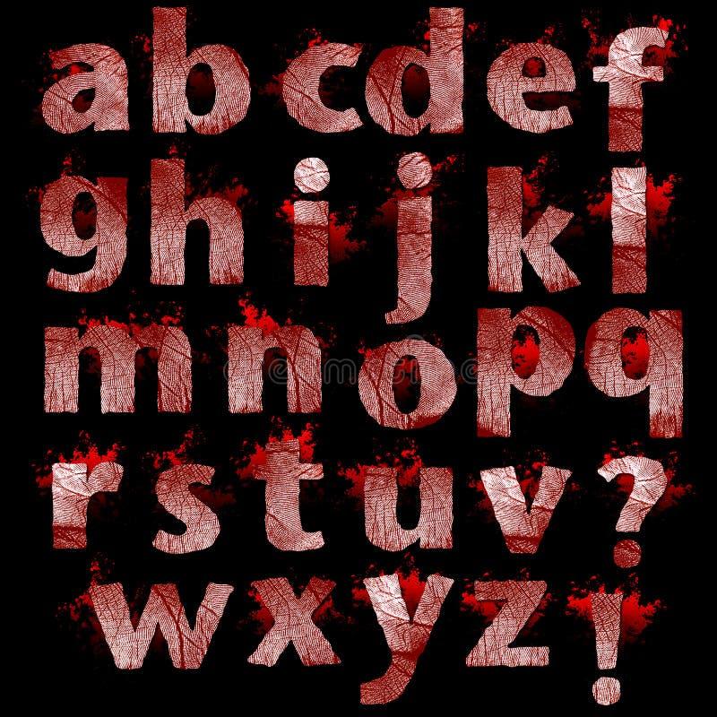 L'insieme dell'impronta digitale sanguinante segna l'illustrazione con lettere isolata royalty illustrazione gratis
