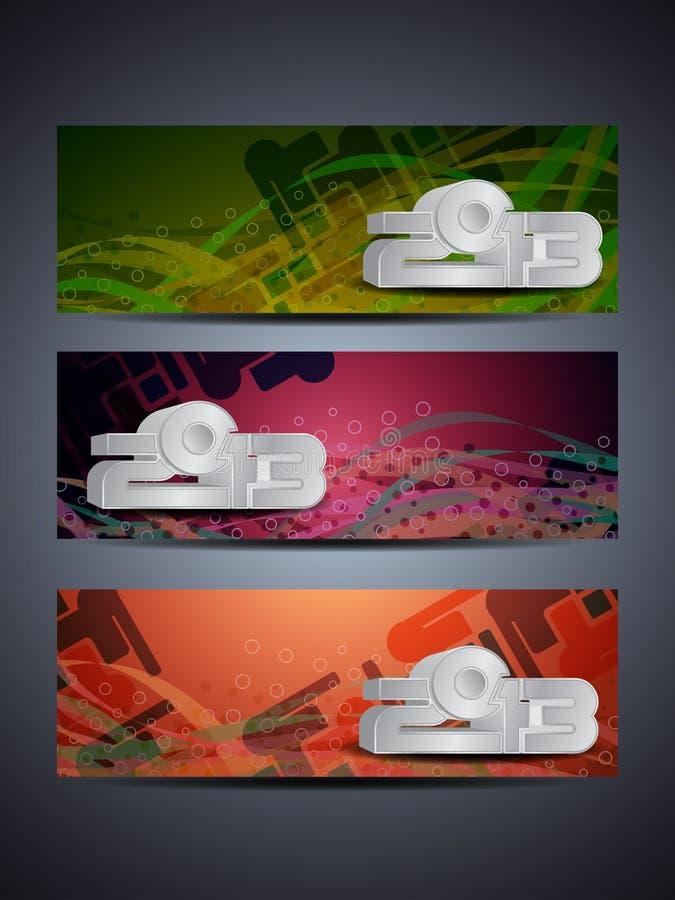 L'insieme dell'intestazione/bandiera astratte di Web progetta per 2013 illustrazione di stock