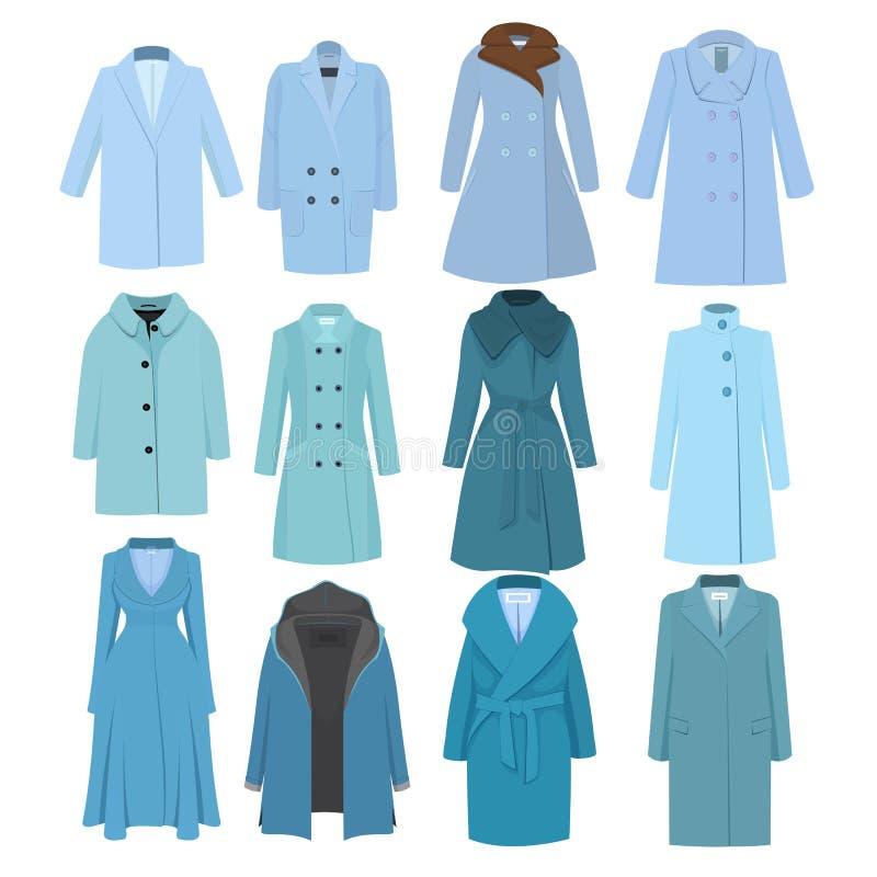 L'insieme dell'inverno di autunno modella il cappotto femminile Illustrazione di vettore illustrazione vettoriale