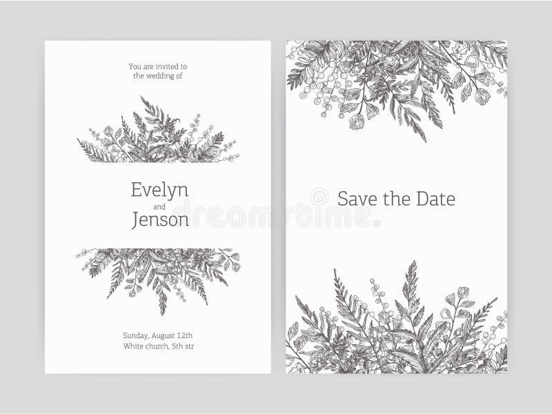 L'insieme dell'invito floreale di nozze e conserva i modelli della carta di data decorati con le felci della foresta e le piante  royalty illustrazione gratis