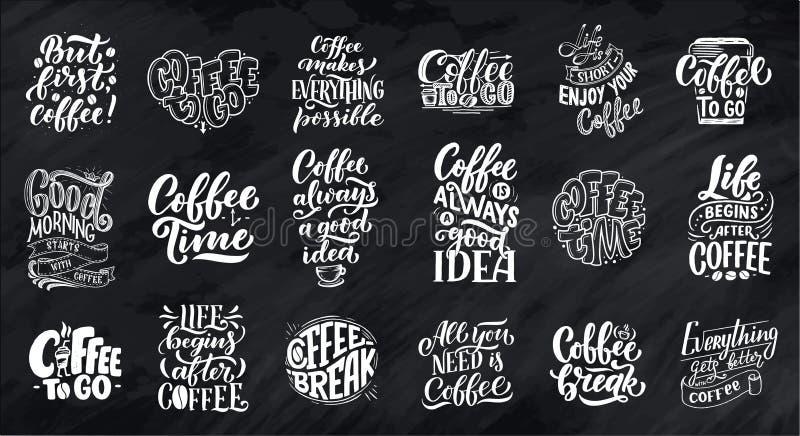 L'insieme dell'iscrizione della mano cita con gli schizzi per la caffetteria o il caffè Raccolta d'annata disegnata a mano di tip illustrazione vettoriale