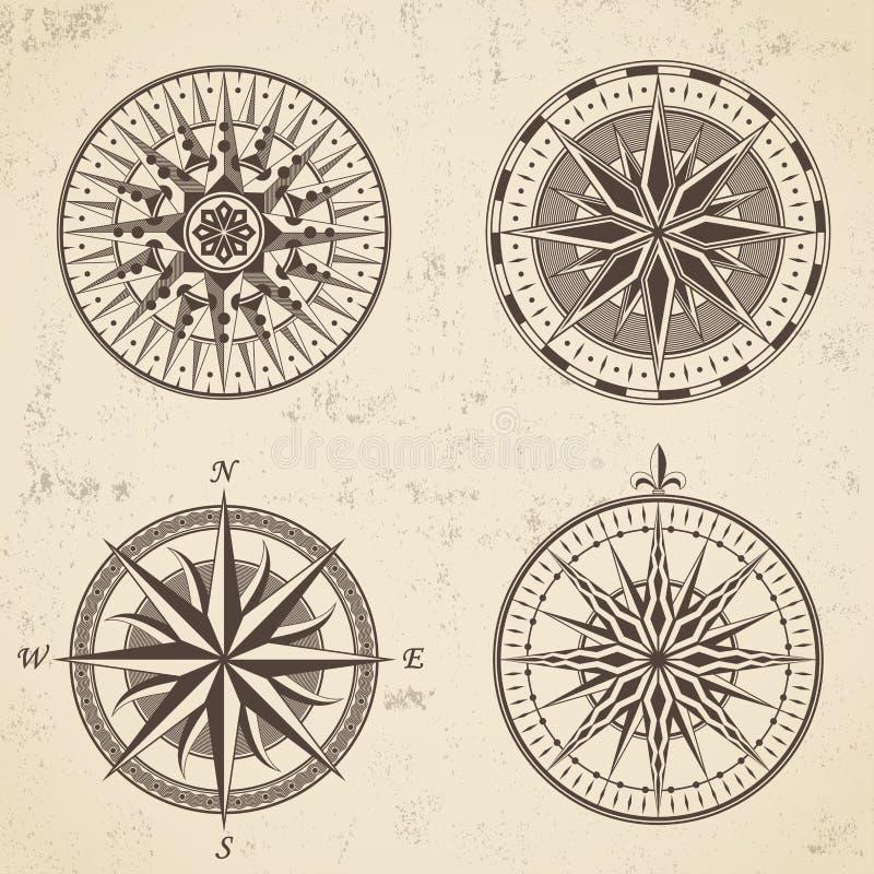 L'insieme della bussola nautica della rosa dei venti antica d'annata firma le etichette royalty illustrazione gratis