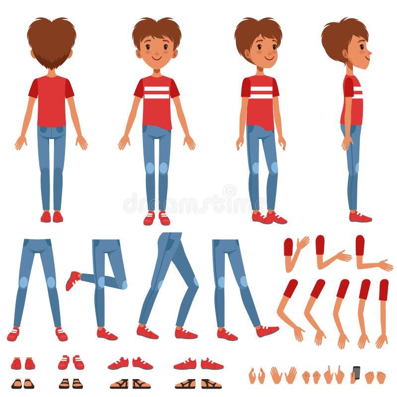 L'insieme della creazione del carattere del ragazzo, costruttore sveglio del ragazzo con differenti pose, gesti, calza le illustr royalty illustrazione gratis